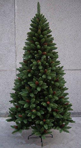 Albero alberi di natale pvc sintetico artificiale 857 rami folto con pigne h 190