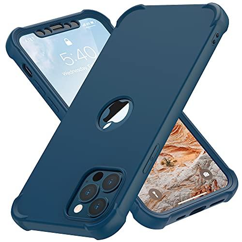 ORETECH Funda Carcasa para iPhone 12 MAX 6.7 Pulgadas, con [2X Protector de Pantalla Vidrio Cristal Templado] 360 Antigolpes Bumper Silicona TPU Hard PC Delgada Caso Case para iPhone 12 Pro MAX-Azul