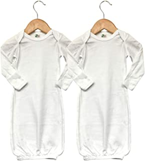 Baby Long Sleeve Sleeper Gown with Mittens (2-Pack) White