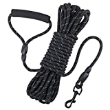 Dog Check Cord, 32FT/10M Floatable Long Reflective Recall Dog Training Rope with Comfortable Handle for Hiking, Camping, Walking (Black)