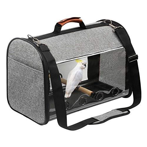 ZXL Bird Travel Bag, leichte Vogeltrage mit Barsch, Bird Travel Cage Toy Transparente, atmungsaktive Papageien-Einkaufstasche, doppelter Reißverschluss