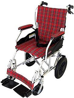 カドクラ クラウド 介助用車椅子 折りたたみ式 ミラノレッドチェック A604-ACR