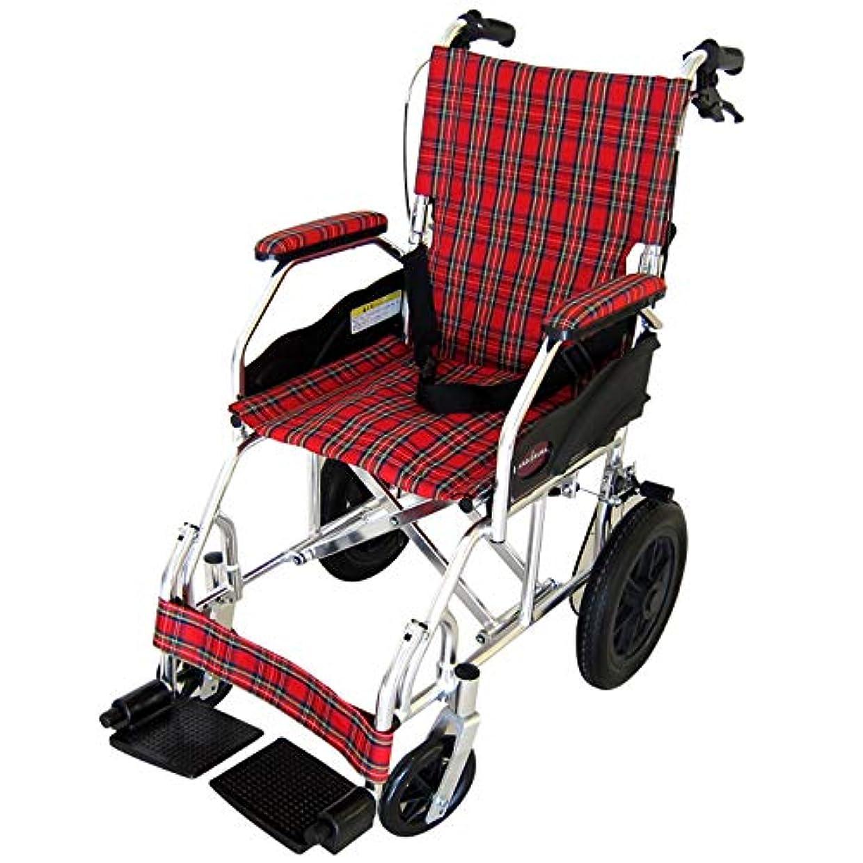 デュアルサークル文明化するカドクラ クラウド 介助用車椅子 折りたたみ式 ミラノレッドチェック A604-ACR