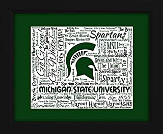 Michigan State 16x20 Art Piece - Beautifully matted and framed behind glass
