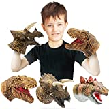 Yolococa Dinosaur Hand Puppets,Parent Child Interactive Educational Toys,Latex Toy Set, 3 Packs, Tyrannosaurus, Stegosaurus, Tricerat
