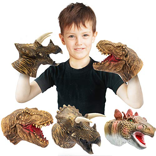 Yolococa Dinosaur Hand Puppets,Parent Child Interactive Educational Toys,Latex Toy Set, 3 Packs,...