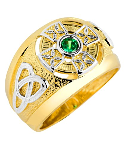 Men's 14k Two-Tone Gold Trinity Knot Band Solitaire Green CZ Celtic Cross Ring