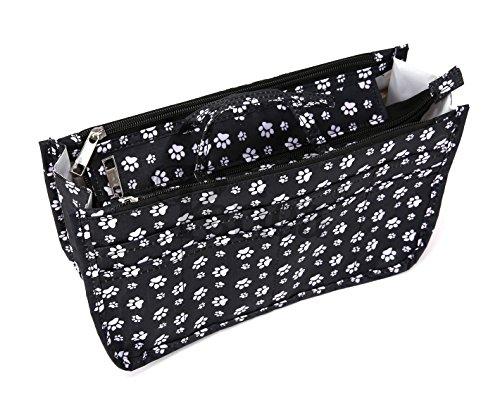 Periea Handtaschen-Organizer, 15 Fächer - 11 Farben Erhältlich - Klein, Mittel oder Groß - Daisy (Schwarze Pfote, Klein)