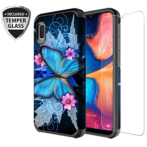 Galaxy Wireless Galaxy A10e Case with Tempered Glass Screen Protector for Girls Women, Dual Layer Heavy Duty Protective Phone Cover Cases for Galaxy A10e - Blue Butterfly