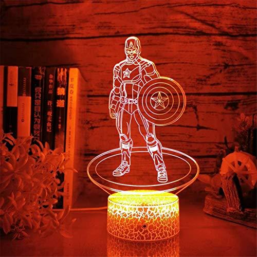 3D Nachtlicht Lampe Einhorn NightLight White Cracked Base 3D Kreative LED Tischlampe Laterne 7 Farbwechsel Nachtlicht Led Cartoon USB Light Weihnachten Neujahrsgeschenke (White-Captain America)