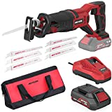 Meterk 20V Cordless Reciprocating Saw, 2.0Ah Lithium Battery Pack, 0-3000RPM Variable Speed, 6 Saw Blades Wood/Metal/PVC Pile Cutting Electric Saw with Orbital Cutting Switch