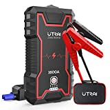 UTRAI Car Jump Starter, 1600A Peak 16000mah Portable Car Battery Charger(up to 7.0L Gas or 6.5L Diesel Engine), Phone Charger with Dual USB Ports, Safety Hammer and LED Flashlight
