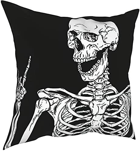 Steed Fundas de Almohada Decorativas de 18 x 18 Pulgadas, Funda de cojín de Caballo galopante, Fundas de Almohada cuadradas para sofá de Coche, decoración del hogar, Esqueleto