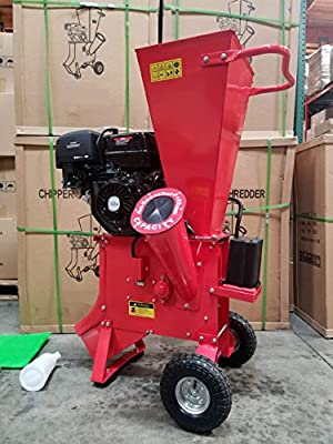Wood Chipper Cutter Leaf Mulcher Shredder 4 Inch Capacity, 15HP Gas Power 4 Stroke Motor 420cc Mulch Bag 1 Year Warranty Model WP15HPCS