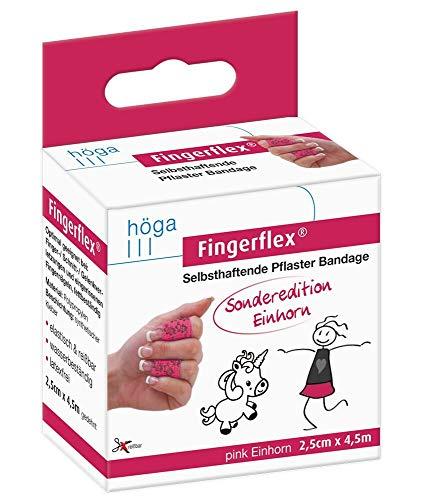 Fingerflex 15571642 Fingerflex pink Einhorn. Sonderedition.2.5cm x 4.5m gedehnt. selbsthaftende Pflaster Bandage. elastisch & reißfest. wasserbeständig. latexfrei,