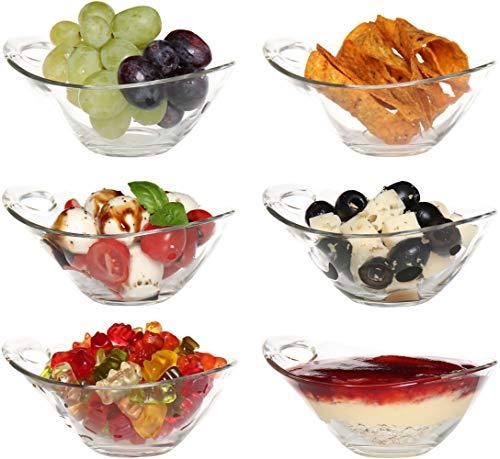 idea-station Glas-Schalen 6 Stück, 120 ml, mit Griff, rund, Dessertgläser, Glasschale, Glasschüssel, Schälchen, Eisschale, Dipschalen, Schüssel-Set, Deko-Schale