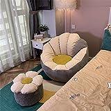 Puf Funda de Puff +Funda para reposapiés (Sin Relleno) En Forma de pétalo Funda De Bean Bag Sofá Pequeño para Dormitorio, Sala De Estar, Jardín,Beige Gray Stitching