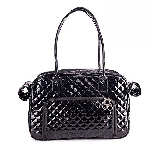B-JOY Hohe Qualität Haustier Hund Träger, zwei große Rückentaschen, zwei Seitenscheiben, Hundetaschen Tote Tasche Mode PU Leder Handtasche Plaid Reisegeldbörse - One Size (Schwarz)