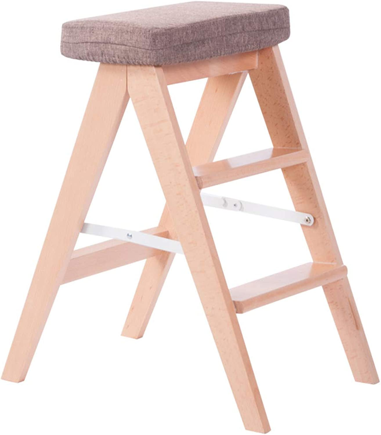 Multifunction Folding Ladder Solid Wood Ladder Stool, Portable Step Stool Indoor Three-Step Stool Step Ladder Foldable Stepladder,D