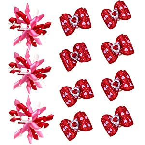 Masue Pets 20pcs/10 Pairs Dog Hair Bows for Valanetines Day Dog Curve Bows Romantic Dogs Pink Rose Red Colors Diamand Love Dog Bows Gorgeous Dog Grooming Products
