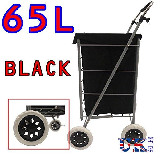 Eagle 4 Wheel Folding Shopping Mobility Trolley Bag Cart Market Laundry Wheeled Push Basket Canvas/Suede (Plain Black Canvas)