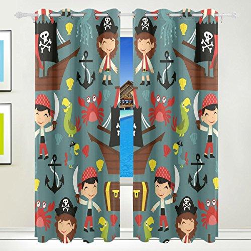 XiangHeFu Schöne Einrichtung Verdunklungsvorhänge mit Tülle Top Retro Pirat Adventure Schiff Papageien Vorhänge Set von 2Platten, je 55W x 84L Zoll für Home Wohnzimmer Schlafzimmer Büro
