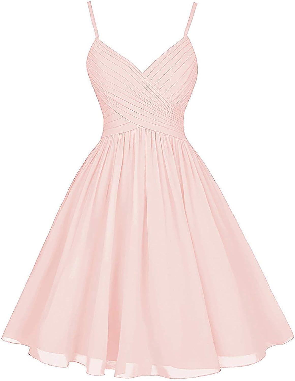 Blush Bridesmaid Dresses Short Knee Length A-Line V-Neck Chiffon Formal Dress for Women Wedding