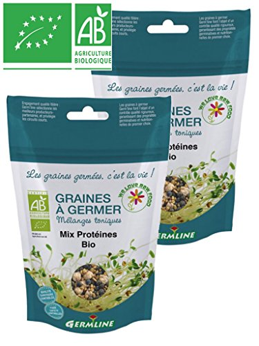 Germline - Graines à germer bio - MIX PROTEINES issues de l'agriculture biologique - Lot de 2 x Sachets de 200g …
