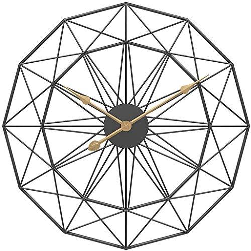NL Reloj de Pared del jardín Reloj de Pared Grande Numeral Inicio Sala Hierro Forjado Redondo Decorativo Reloj del Metal del Reloj Silencio, Negro