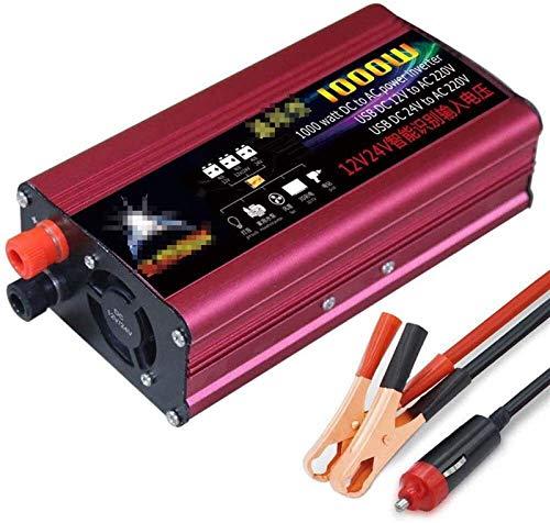 1000W (Peak 2000W) Inverter de onda sinusoidal pura 12V / 24V a 110V 220V 230V 240V Puerto de carga USB y conexión directa al conversor de voltaje de camión de automóviles de batería de automóvil. Plá