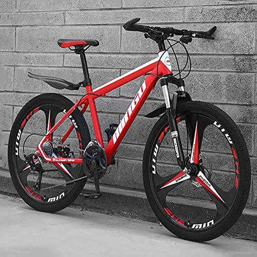 WLKQ Pieghevole Mountain Bike, MTB, Bici Biammortizzata, 26 velocità Doppia Sospensione Biciclette, Telaio in Acciaio ad Alto Tenore di Carbonio Mountainbike, Adulti Bike,Red 3 Spoke,24 Speed