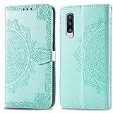 Bear Village Hülle für Galaxy A70 / Galaxy A70S, PU Lederhülle Handyhülle für Samsung Galaxy A70 / Galaxy A70S, Brieftasche Kratzfestes Magnet Handytasche mit Kartenfach, Grün