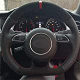 VIdisp Cubierta de Volante de Coche Negra, Apta para Audi A5 A7 RS7 S7 SQ5 S6 S5 RS5 S4 RS4 S3 2012-2018