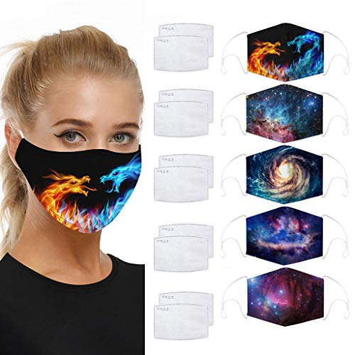 5PCS Adult Washable Disposable Fashion Face Mask With 10PCS Filter, Cartoon Style Dust-proof and Windproof Breathable Comfortable and Soft Outdoor (Multicolor)