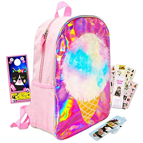 Cute Ice Cream School Supplies Ice Cream Backpack for Girls Teens Bundle ~ Premium 16' Holographic Fuzzy Ice Cream Travel Bag Backpack for Kids Adults with Reward Stickers and Accessories (Cute Ice Cream School Supplies)