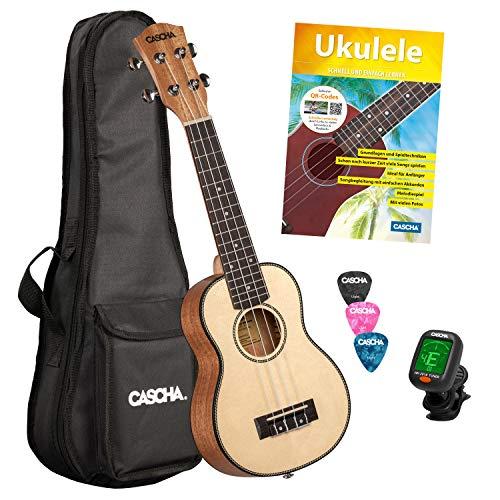 CASCHA Sopran Ukulele, Massive Fichtendecke, Solid Top, Hawaii Gitarre Starter Lern Set mit Zubehör, Aquila-Saiten, Anfänger Buch, Tasche, Stimmgerät und 3 Plektren