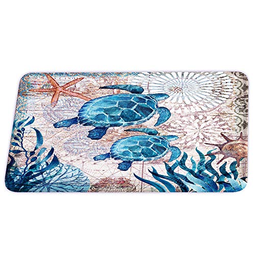Sea Turtles Nautical Green Beach Coral Velvet Bath Rugs Non Slip Shower Mat for Blue Ocean Bathroom Decor Sets Door Rug with Rubber Backing Absorbent Kitchen Floor Carpet 17 x 24 inches