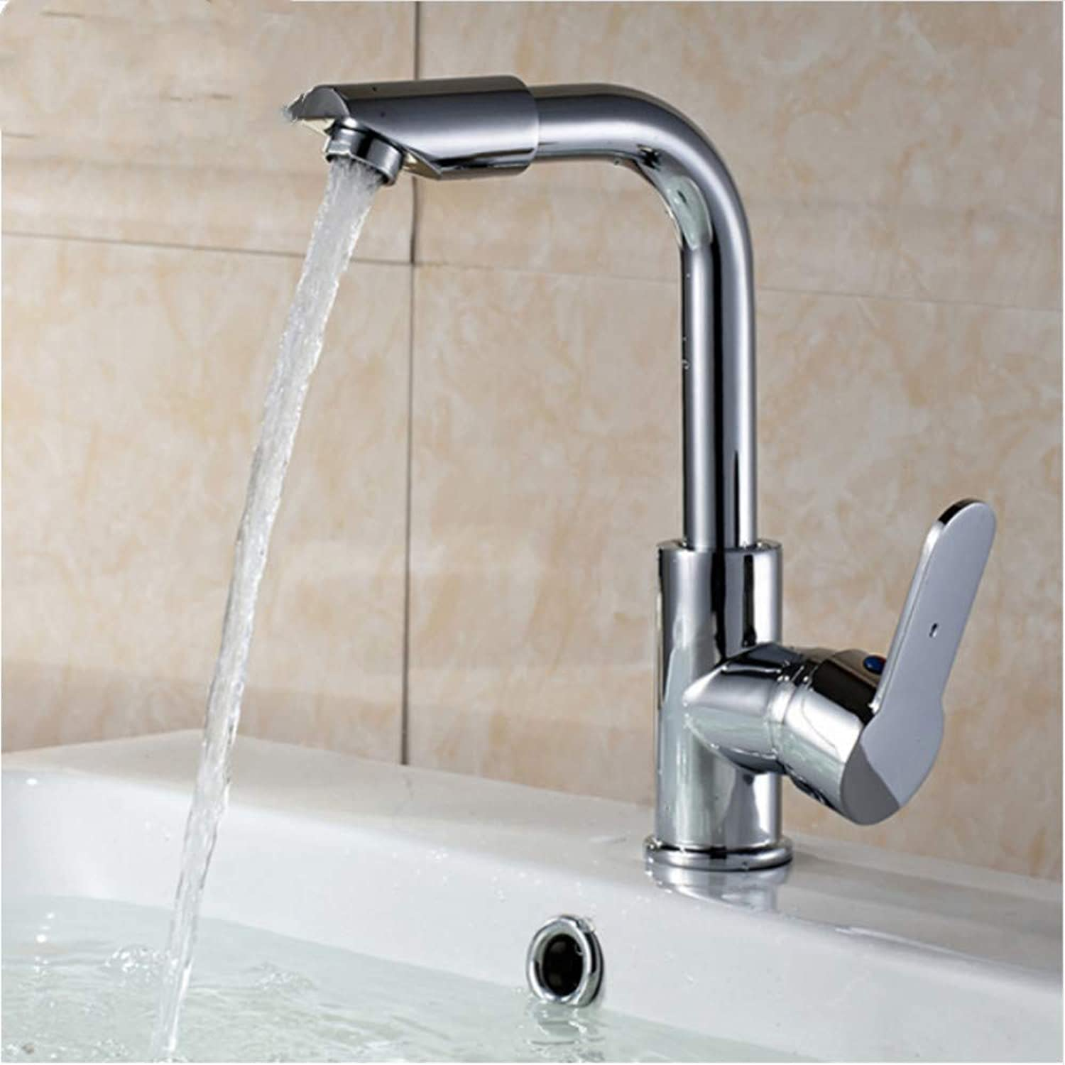 LLLYZZ Chrome Finish 360 redating Bathroom Basin Faucet Single Holder hot and Cold Water washbasin Mixer taps Robinet