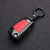 ZSDEW Smart Key Case Cover, Car Key Cover ABS Fibra de Carbono Silicona Car Key Cover Protector Case Keychain, para Audi A3 A4 A5 C5 C6 8L 8P B6 B7 B8 C6 RS3 Q3 Q7 TT 8L 8V S3Color 4