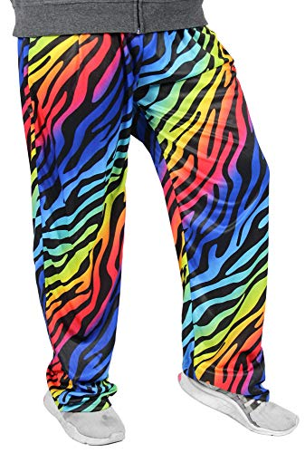 Foxxeo Bunte Jogginghose für Herren zum 80er Jahre Kostüm Zebra neon schwarz - Größe S-XXL - Fasching Karneval Party, Größe:XXL