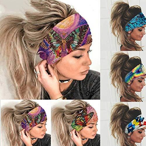 Fandazzie Banda para el cabello con banda elástica y estampado de mariposa deportiva de alta elasticidad Diademas y cintas para el pelo