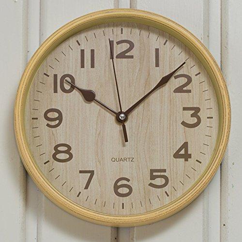 21.0 cm Élégant Horloges Murales Chiffres Arabes Silencieux Non-Coutil Grand Cadre Horloge À Quartz pour la Maison / Bureau à Batterie
