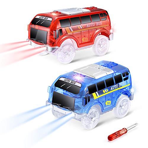 CODOMOXO 2019 - Mini circuitos de coche con 5 luces LED, Magic Track Accessory (2 autobuses)