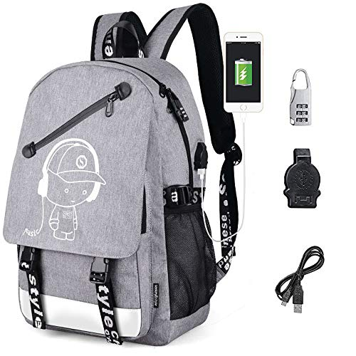Sqodok Anime Backpack, Luminous Backpack for Boys Girls, School Bookbag with Pencil Case, Charging Laptop Bag for 15.6inch Laptop, Waterproof Travel Daypack College Student Rucksack, Grey
