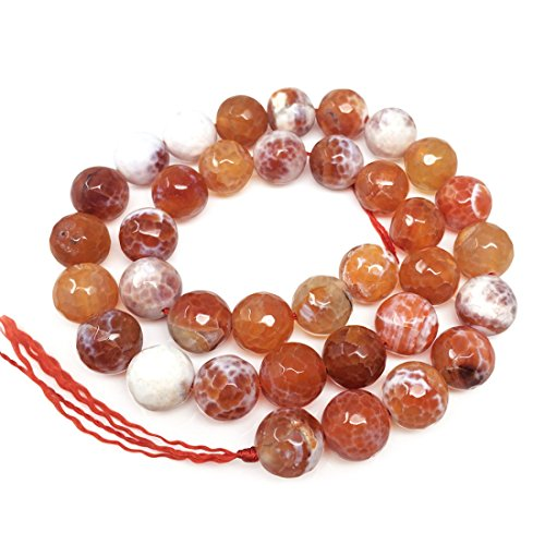 2 Strands Natural Faceted Red Fire Agate Gemstone 6mm Round Loose Stone Beads (~ 116-124pcs total) for Jewelry Craft Making GH4-6