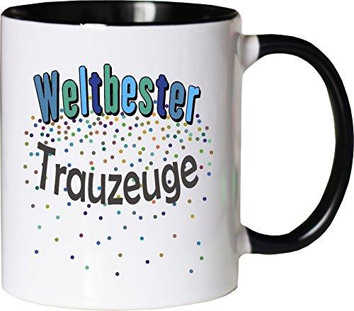 WarmherzIch Becher Tasse Weltbester Trauzeuge Kaffee Kaffeetasse liebevoll Bedruckt Freund Hochzeit Bro Weiß-Schwarz