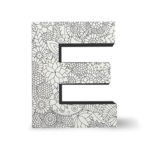 "DCI Color Joy Alphabet Letter, Block Letter E, Wall Letters, Adult Coloring Products, 4"" x 6"" x .75"", Decorative Letters for Baby Shower Decor"