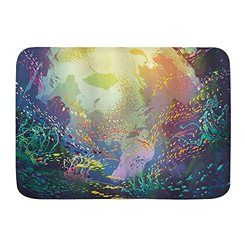 Tappetini da bagno, animali marini sott'acqua con barriera corallina e pesci colorati, stampa di acquari, tappetini da bagno Tappetino da bagno super assorbente antiscivolo per vasca, doccia