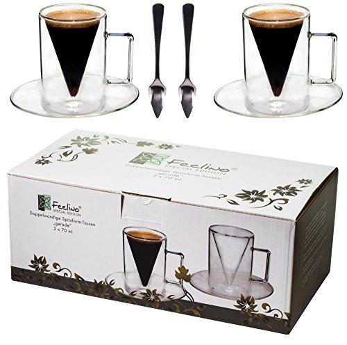 Spikey 2X 70ml doppelwandige Spitzglas-Tassen gerade + 2 SPITZLÖFFEL 18/10 - Tassen mit Henkel und Untersetzer, by Feelino
