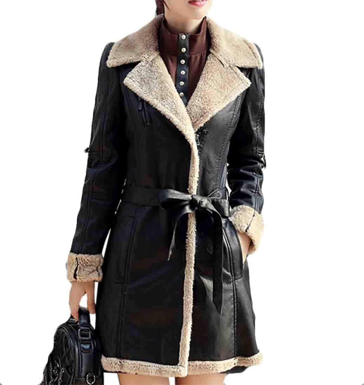 Generic Women's Outerwear PU Warm Motorcycle Outwears PU Leather Fleece Lined Outwear
